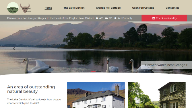 Website design - ALakeDistrictCottage.co.uk Two lovely cottages, in the heart of the English Lake District