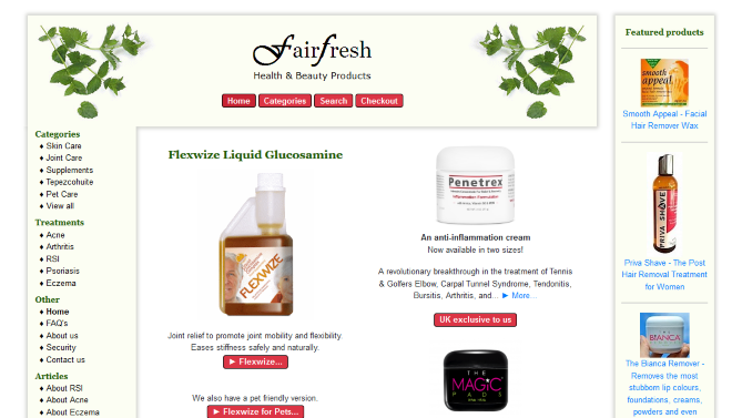 Worthing web design - Fairfresh.co.uk Online shop selling health and beauty products